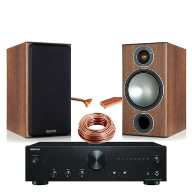 Onkyo A-9010 Stereo Amplifier with Monitor Audio Bronze 2 Speakers and cable.