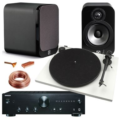 5 Star Reviewed Vinyl Starter System includes Onkyo amp Project turntable and Q-Acoustics speakers