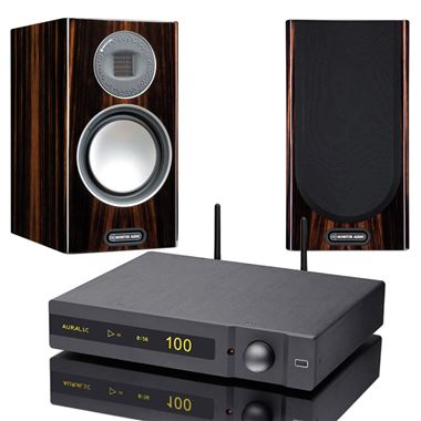 AURALiC Polaris 180w Streaming System with Monitor Audio Gold 100 Speakers and Stands