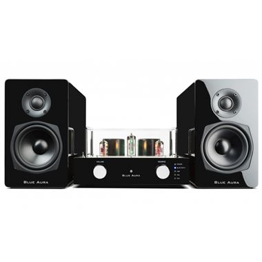 Blue Aura V40 Plus Blackline Valve Amplifier with Bluetooth, USB and Matching Speakers