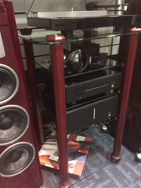 Ex Display, Stands Unique Midi Tower 4 Tier HiFi Stand in Mahogany