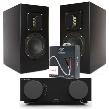 Cyrus ONE Streaming System with Chromecast and Roksan TR-5 Speakers and QED Cables