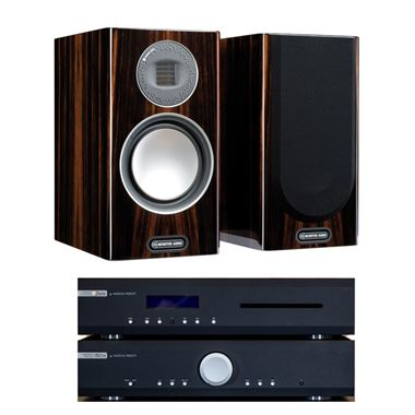 Musical Fidelity M2si Amp and M2sCD with Monitor Audio Gold 100 Speakers and Stands