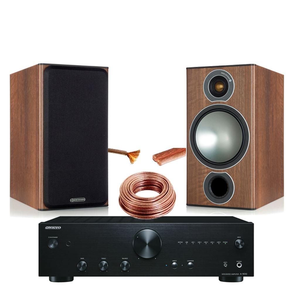 onkyo bookshelf stereo system. onkyo a9010 with monitor audio bronze 2 bookshelf stereo system